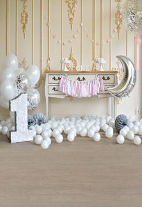 Birthday Background Balloons Backdrop One Year Old Backdrop S-3081