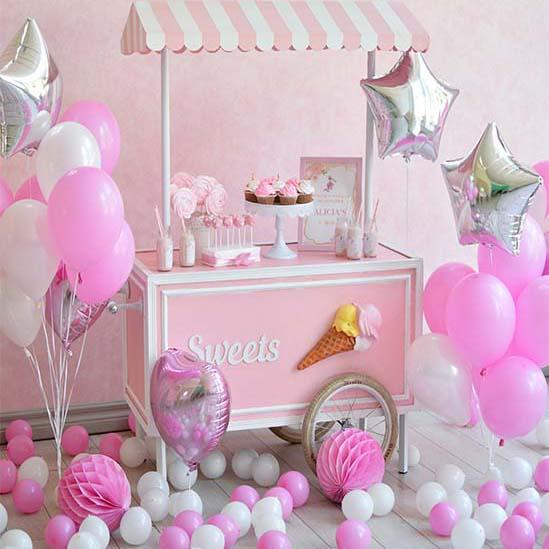 Baby Backdrops Food  Backdrops Balloons Backgrounds  Pink Cake S-3084