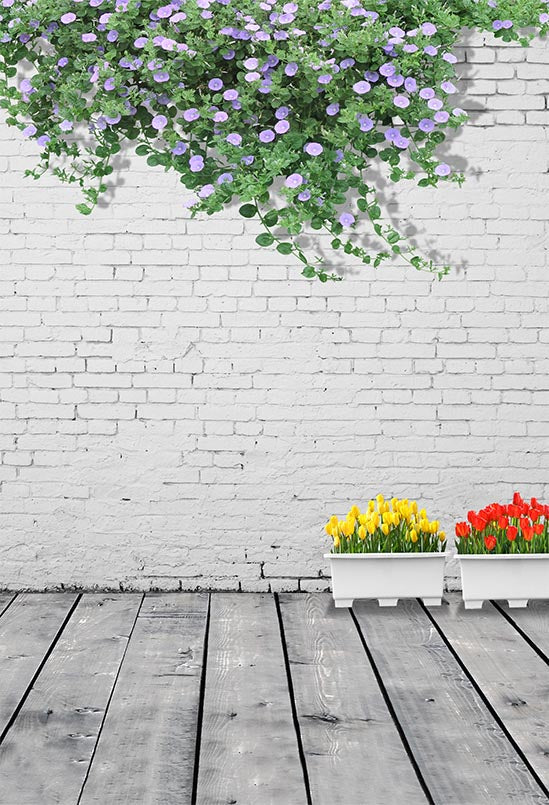 Brick Wall Backdrop Diy Photography Background Flower Backdrop S-3130