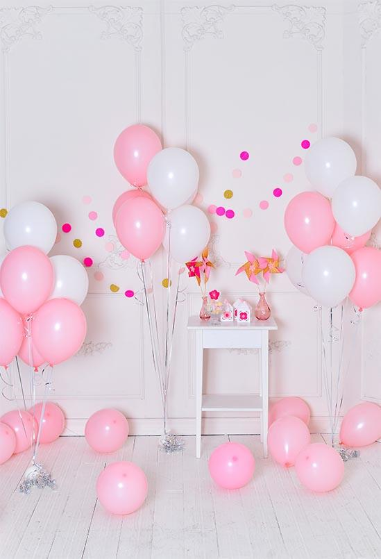 Birthday Party Background Balloons Backdrop Pink Backdrops S-3143