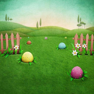 Patterned Backdrops Colored Eggs Backdrops Grass Background S-3156