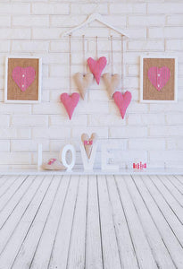 Brick Wall Backdrops Hearts Backgrounds Cheap Photo Backdrops S-3186