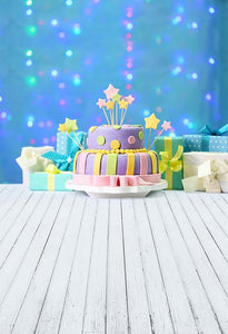 Birthday Party Background Cake Backdrop Blue Backdrop S-3205