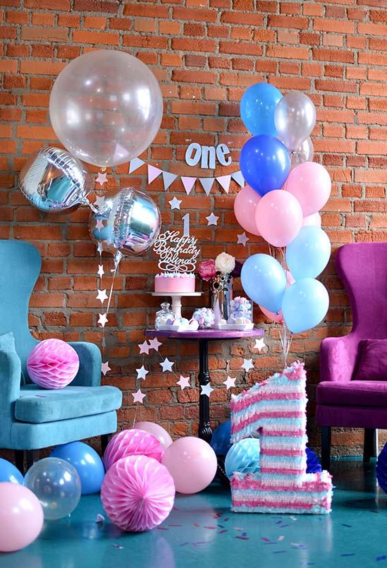Birthday Party Background Balloons Backdrop Brick Wall Backdrop S-3221
