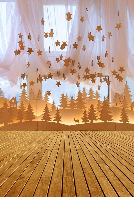 Wood Backdrop Wooden Background Golden Backdrops Golden Stars S-3224