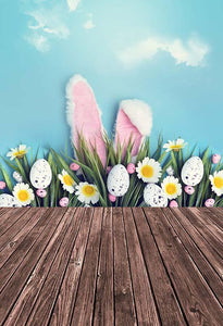 Easter Backdrop Blue Backdrop Flowers Background Rabbit S-3235