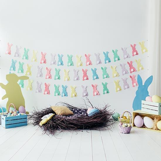 Easter Backdrops White Backdrop Themed Rabbits Background S-3238 - iBACKDROP