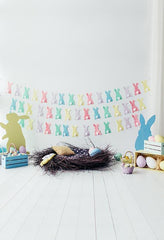 CdHBH 10x8ft Vinyl Easter Photography Background Flower Shop Painted Easter Eggs Pigments Grey Rabbits Wooden Table Backdrops Child Baby Portrairt Shoot Greeting Card Community Easter Egg Hunt
