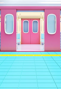 Window And Door Backdrops Pink And Blue Backdrop S-3242