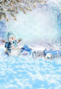 Festival Backdrops Christmas Backdrops Snow Man Background S-3252