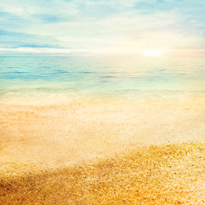 Scenic Landscape Beach Summer Background Fine Gold Sand Photo Backdrop IBD-20000