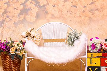 Soft White Velvet Cushioned Chair Background Photography Backdrop for Children IBD-19706