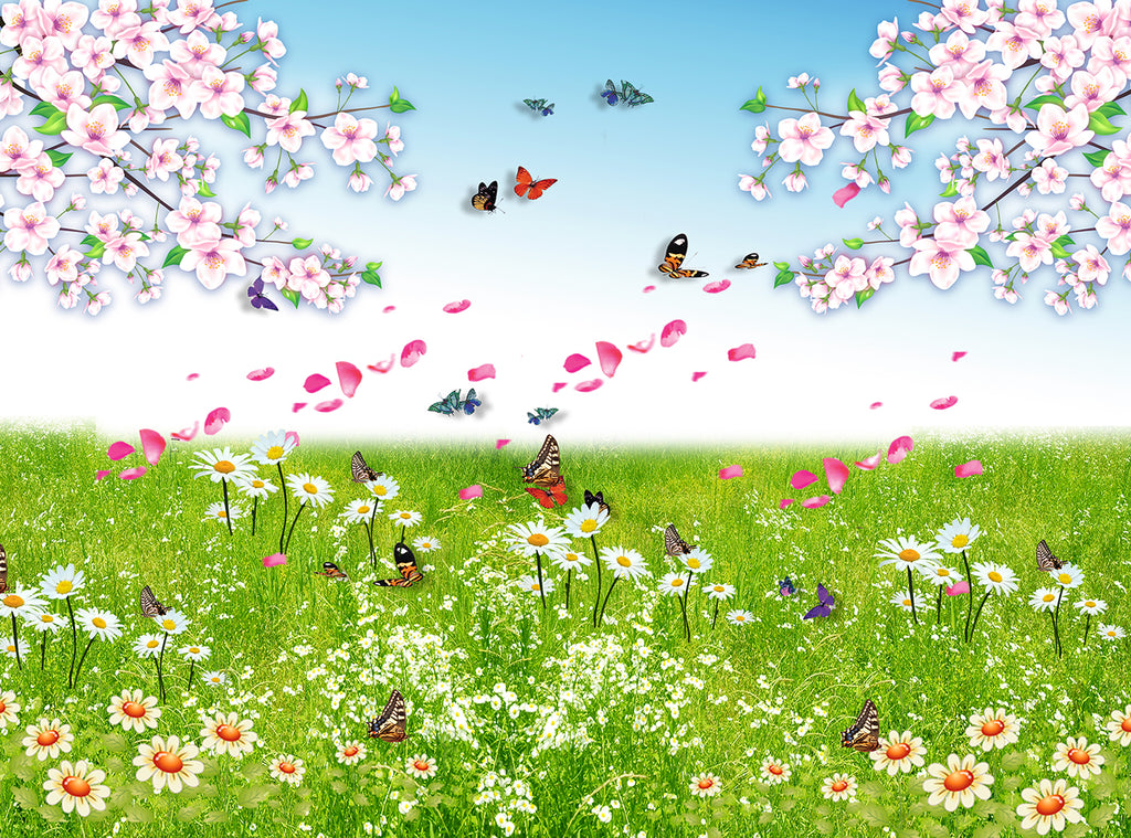 Spring Flower With Butterflies Background For Photography IBD-24567