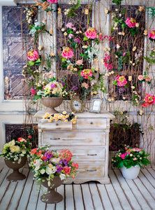 Studio Photos Special Photography Background Counter Surrounded by Flowers Backdrop IBD-20046
