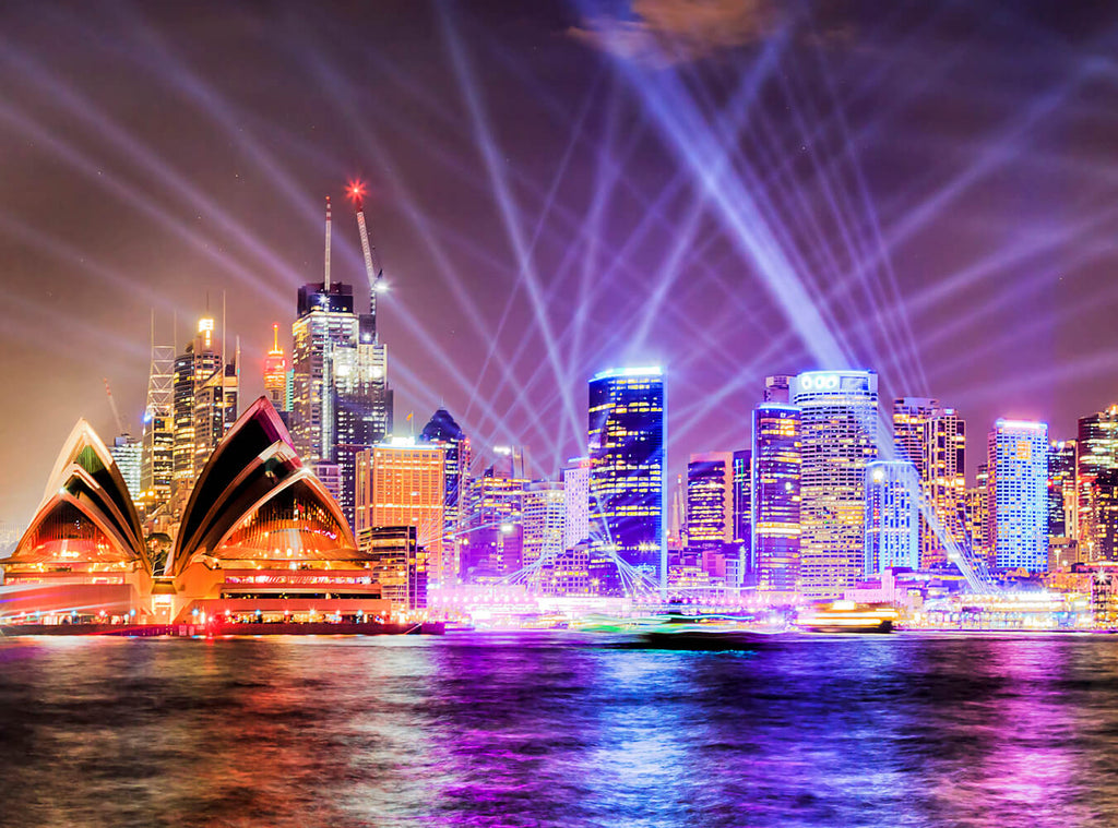 Sydney Opera House Flash Lightning Night View Photography Backdrops IBD-24270