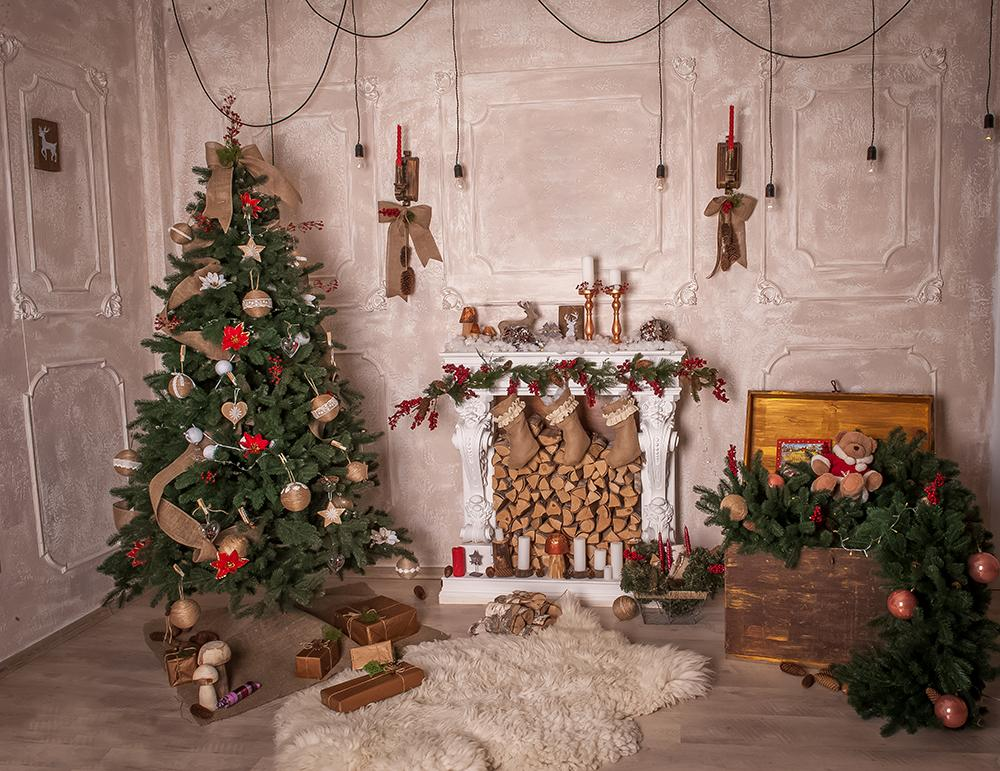 The Warm Background of Christmas Indoor Decorations Backdorps For Party Ideas IBD-19214