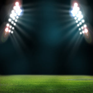 Two Huge Spotlights Sports Ground Background Green Grass Backdrop for Photo IBD-19745