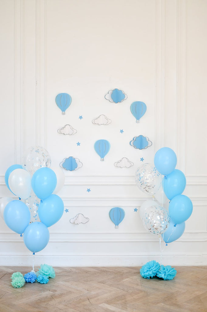 Wall Light Blue Balloons Children Photography Backdrops IBD-19337
