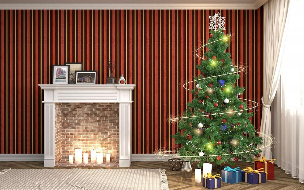 Warm Stove and Christmas Tree Background Festival Backdrops for Home Decor IBD-19224