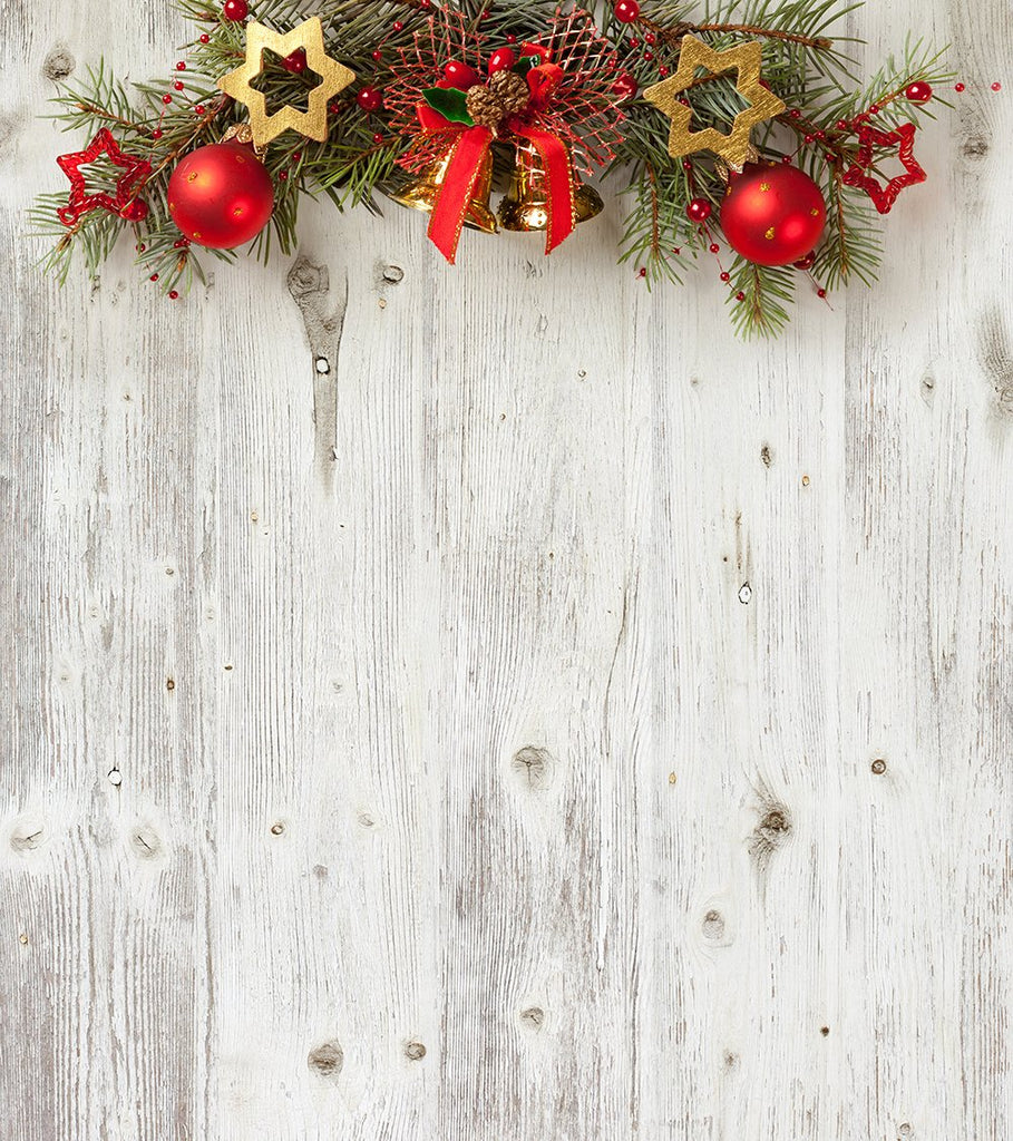 White Wood Background Christmas Backdrops for Photography IBD-19228