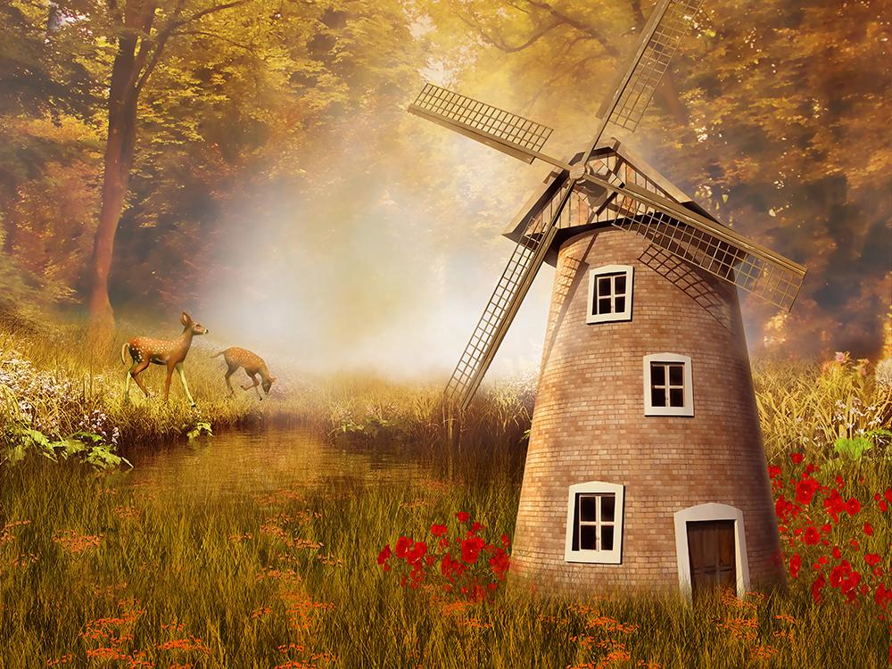 Windmill Forest Background Portrait Backdrops IBD-19349