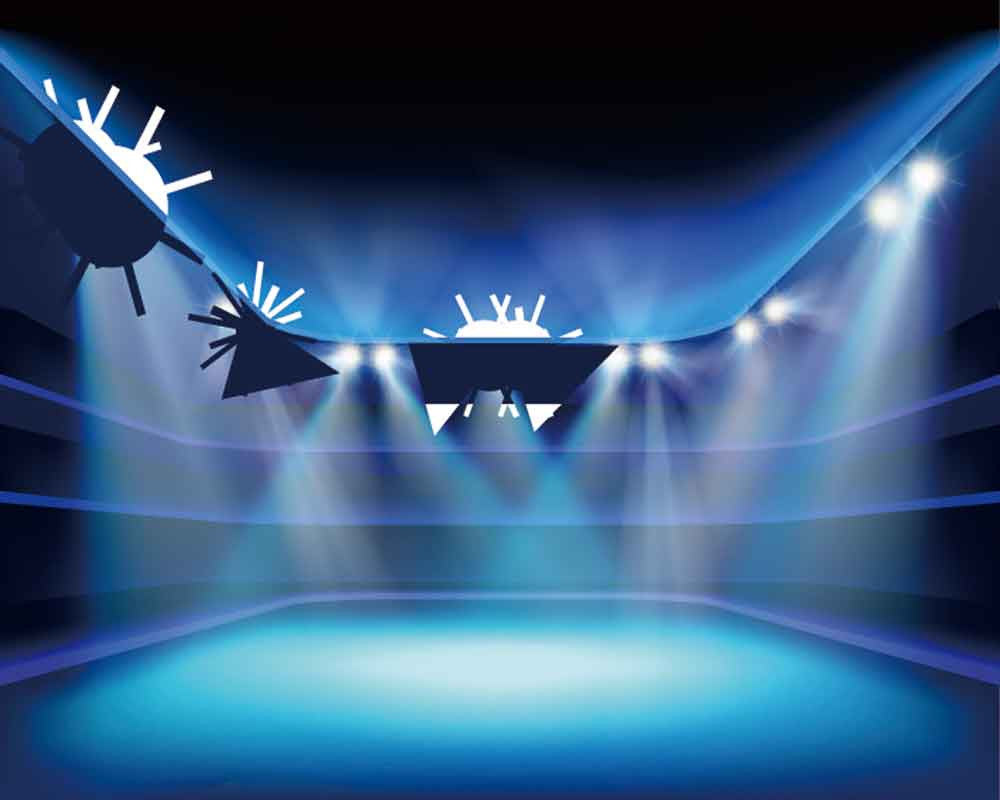 Prom & Homecoming Backdrop Stage lighting Blue Background YY00228-E – ibackdrop