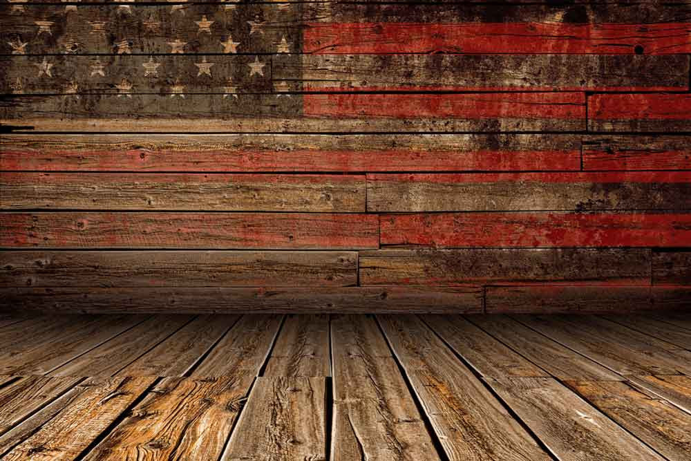 Bunting Backdrops Wooden Background American Flag Backdrop