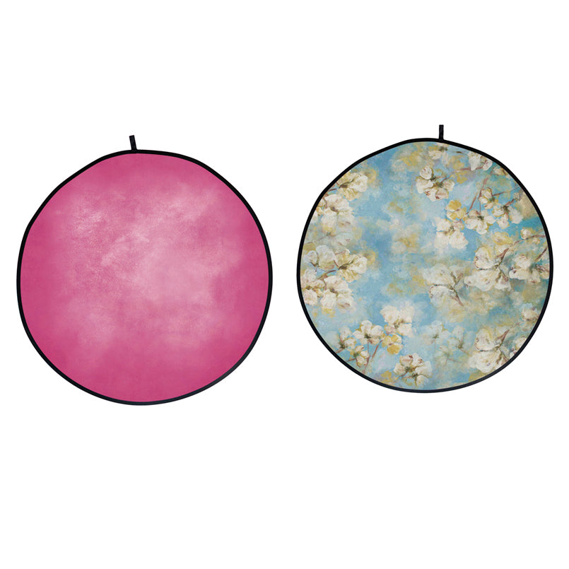 Double-sided Round Floral /Pink Collapsible Backdrop 5'W(1.5m)x5'H(1.5m) IBD-ZB01