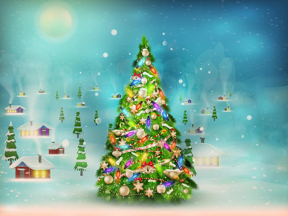 Blue Bokeh And Blurred Backdrops Christmas Trees In Snow Background Christmas Backdrops IBD-H19170