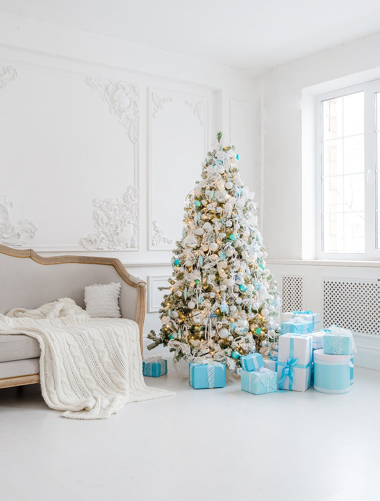 Blue Gift Boxes Christmas Decorations In Door Background Photography Backdrops IBD-P19191