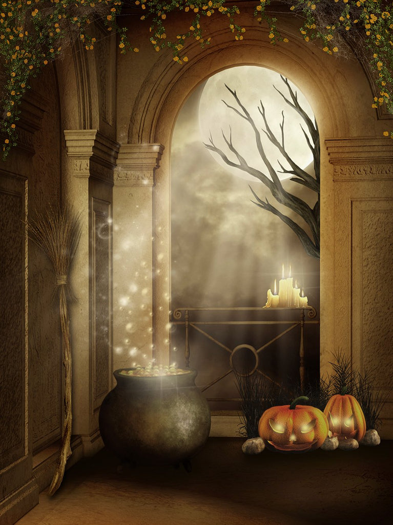 Festival Backdrops Halloween Bubbling Drug Tank And Pumpkin Lanterns IBD-P19063
