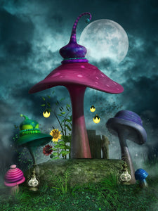 Festival Backdrops Halloween Backdrops Cartoon Background Mushroom Umbrella