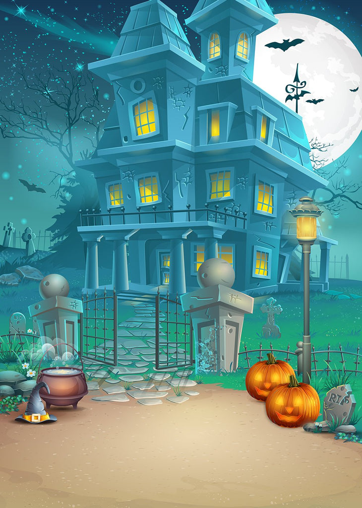 Festival Backdrops Halloween Backdrops Children Cartoon Castle Background IBD-P19050