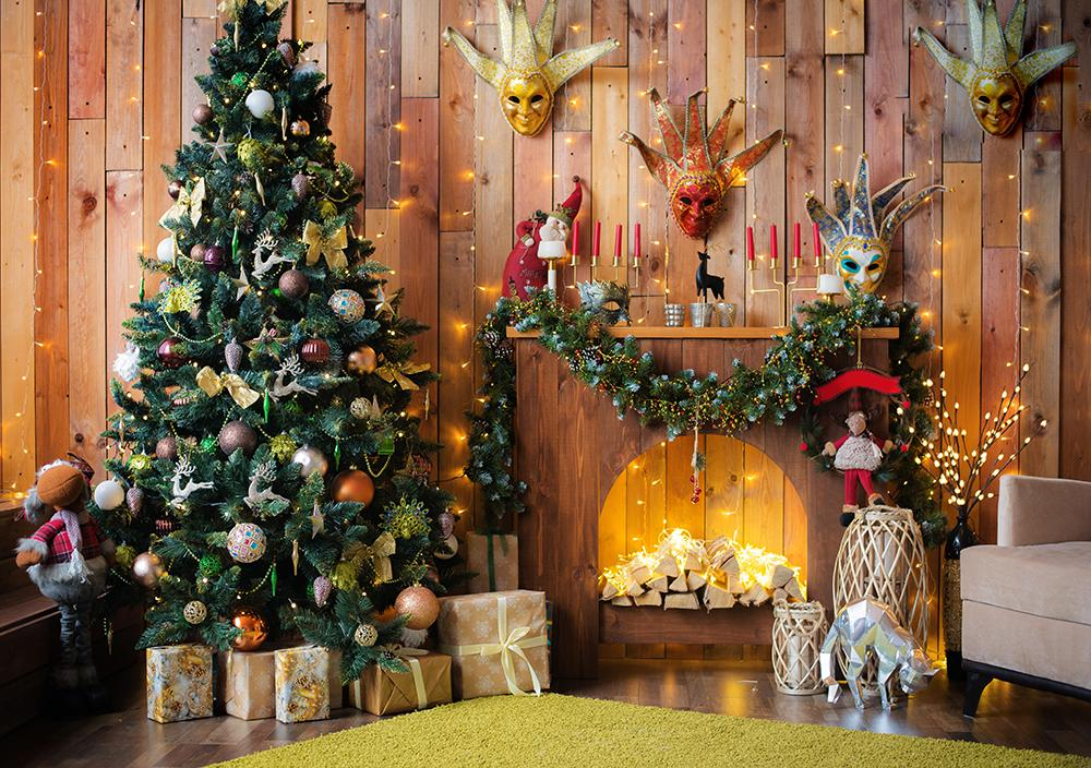 Christmas Decorations Indoor Background Wood House Backdrop Christmas Backdrops IBD-H19199