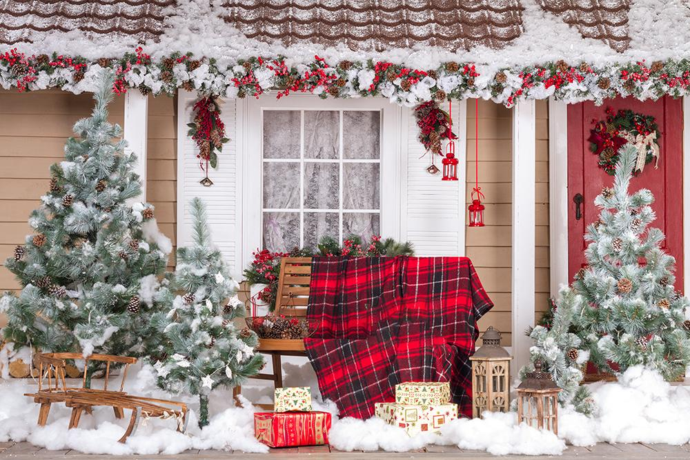 Diy Christmas Decorated Backdrops Merry Christmas Photography Backdrops IBD-H19184