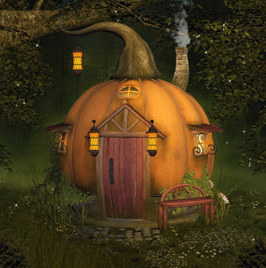 Forest Background Pumpkin House Halloween Festival Backdrops IBD-19092