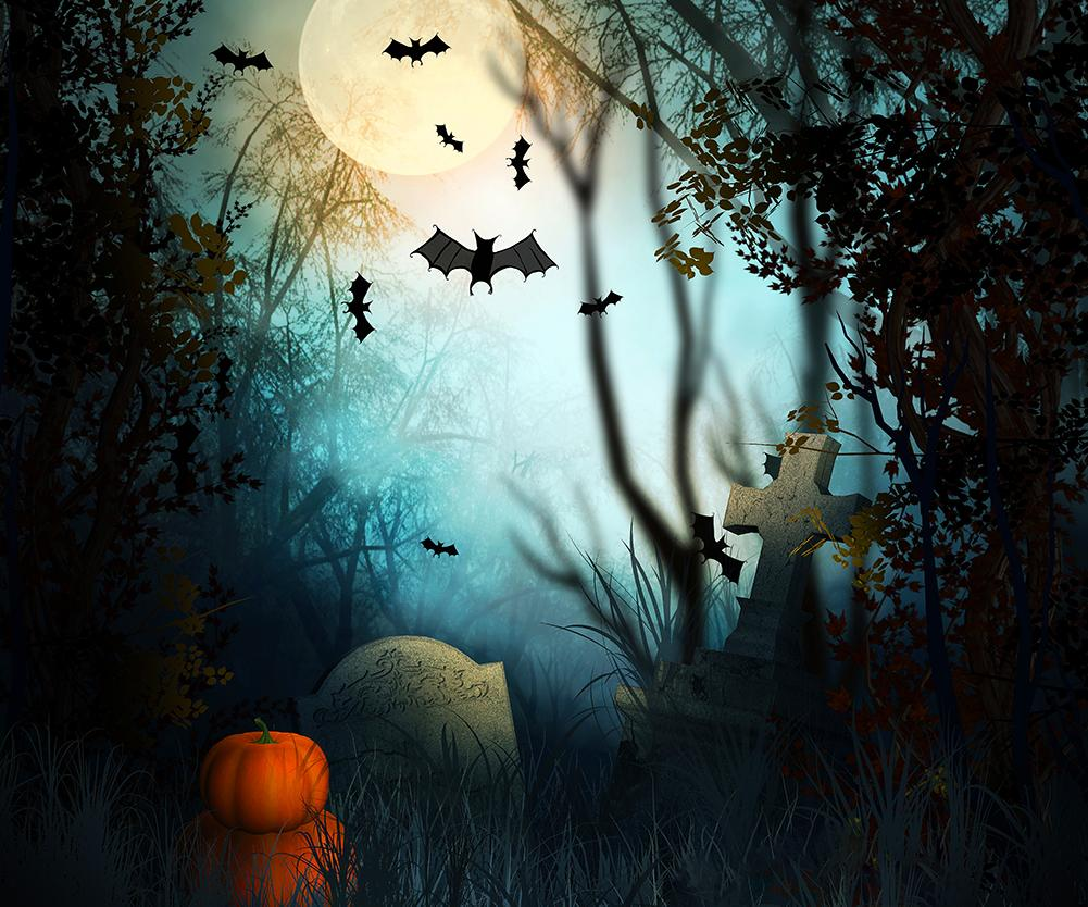Graveyard Background Moolight And Bats Festival Backdrops For Halloween