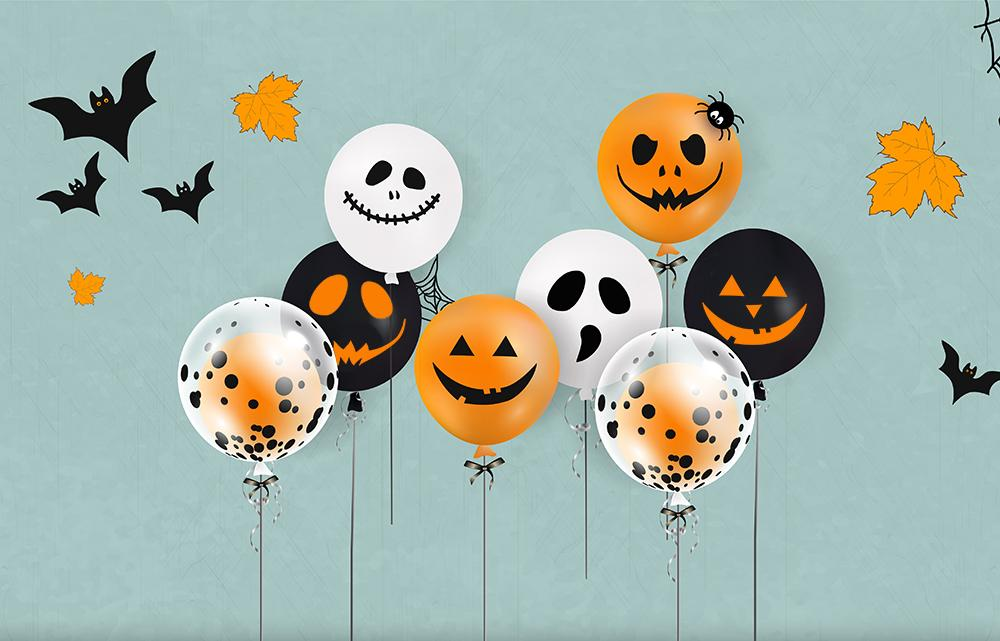 Halloween Backdrops Festival Backdrops Ghosts Emoji Balloons Background
