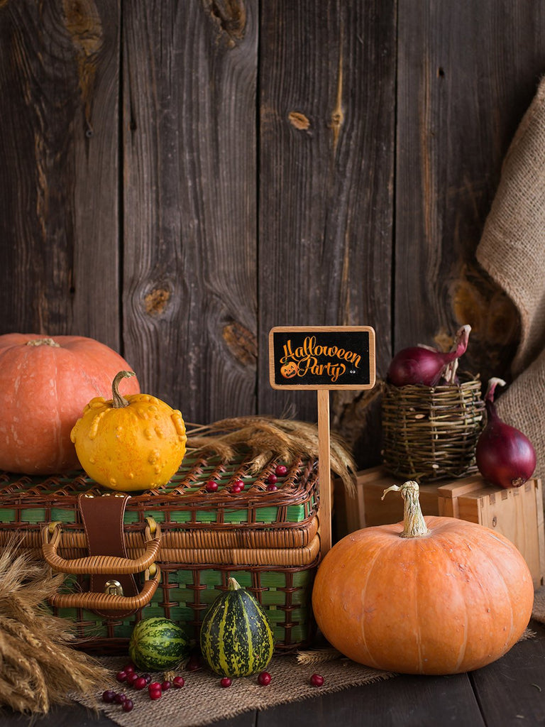 Harvest Season Abundant Vegetables Halloween Backdrops IBD-P19124