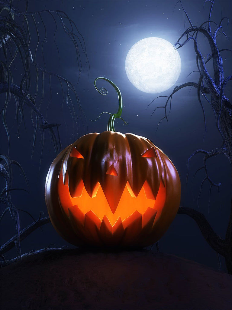 Moonlight Background Evil Pumpkin Lanterns Halloween Backdrops IBD-P19115