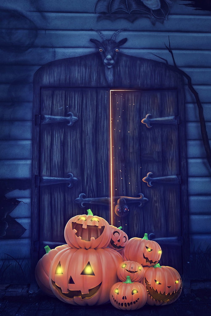 Mysterious Gate Background Pumpkin Lanterns Halloween Festival Backdrops IBD-P19096