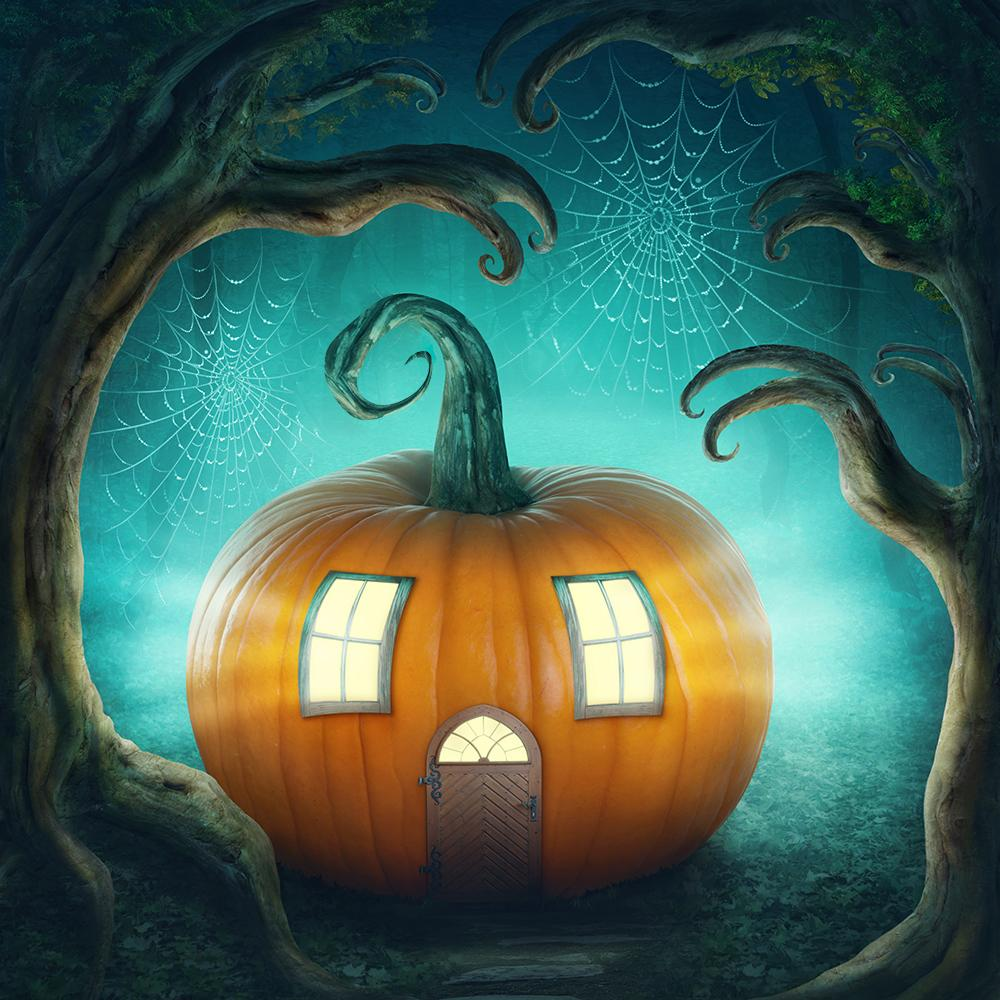 Festival Backdrops Halloween Mysterious Shiny Pumpkin House IBD-19058