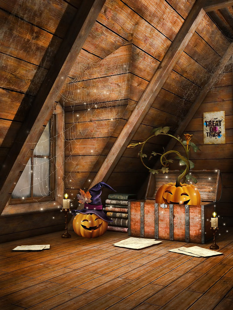 Old Attic Hidden Pumpkin Lanterns Treasure Halloween Backdrops IBD-P19123