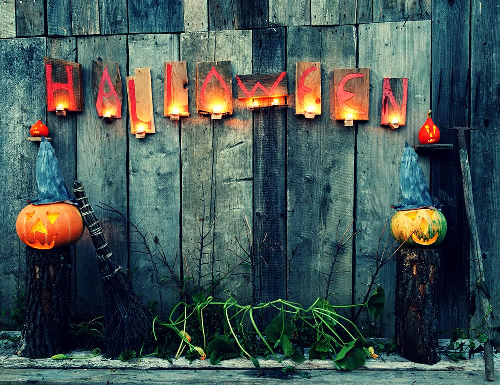 Festival Backdrops Halloween Backdrops Pumpkin Lanterns Broom Background