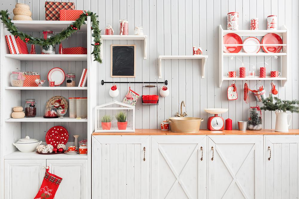 Red Cookers On The Cupboard Background Christmas Backdrop For Photography IBD-H19149