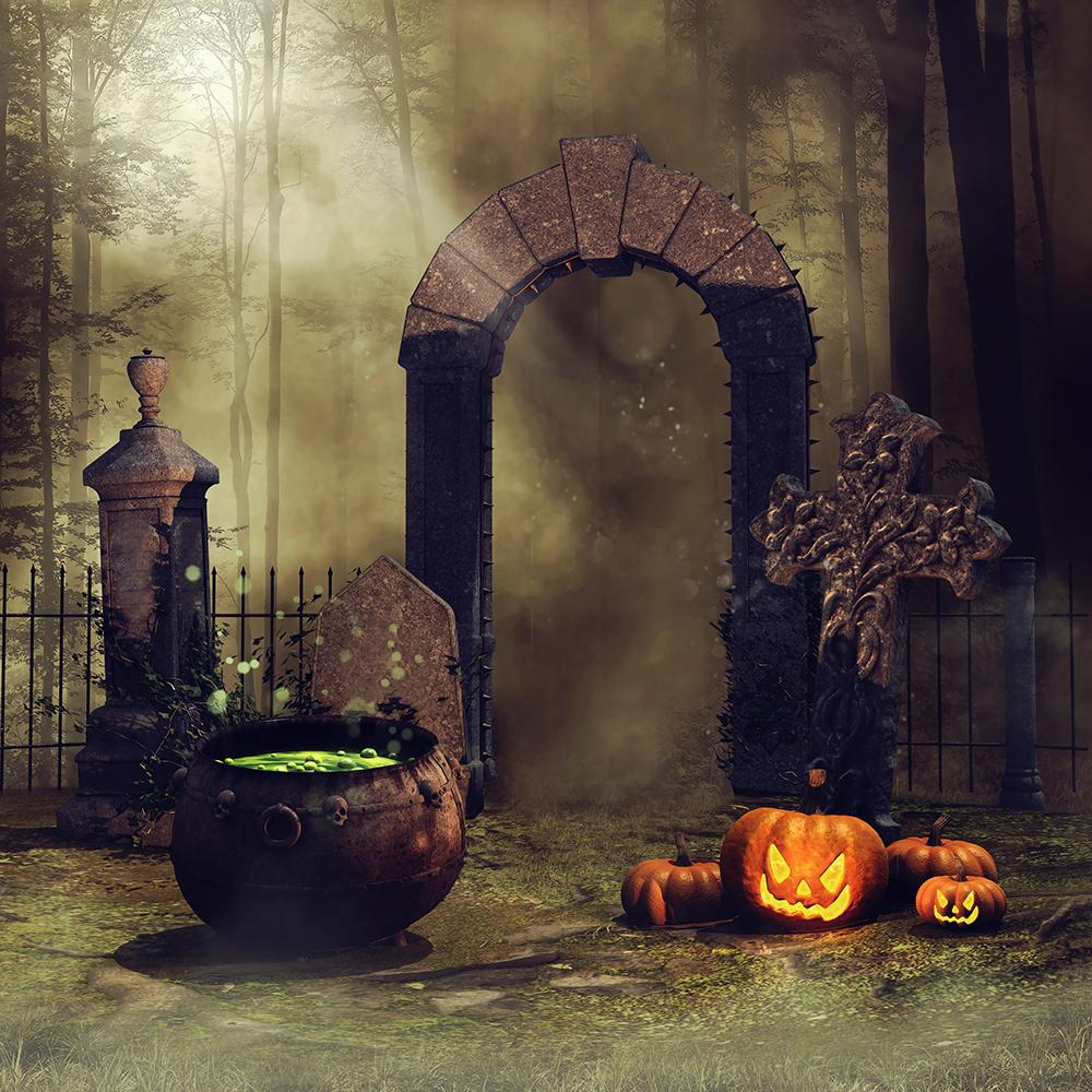 Festival Backdrops Halloween Backdrops Refining Medicine And Pumpkin Lanterns