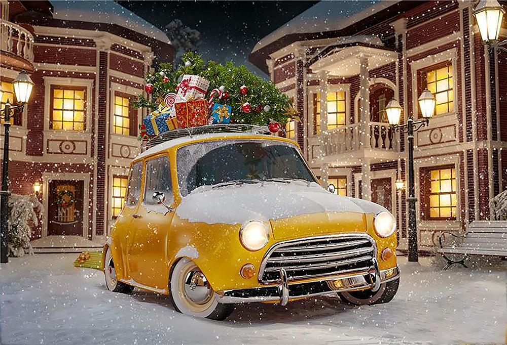 Now Falling Background Christmas Gifts Car Backdrop For Photography IBD-H19157