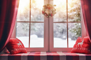 Window Decoration For Snow Background Christmas Backdrop IBD-H19155