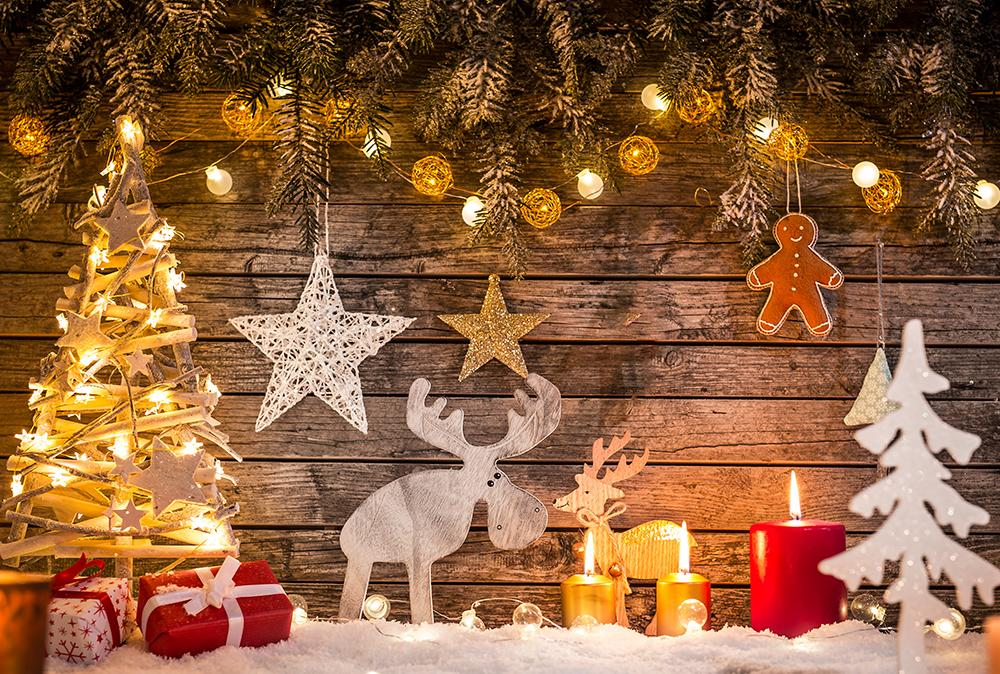 Wood Background Christmas Decorated Light Backdrop For Home Decor IBD-H19159