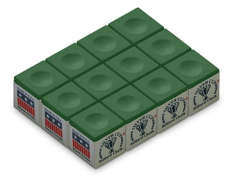 Silver Cup Billiard/Pool Cue Chalk Box, 12 Cubes - Talisman Billiards